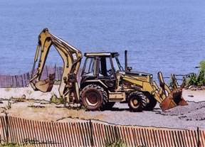 front-end loader working on beach in Laurence Harbor, NJ